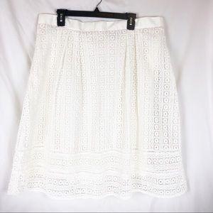 Boden White Crochet Lace Knee Length Skirt US 16